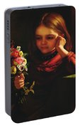 Girl With Flowers Portable Battery Charger