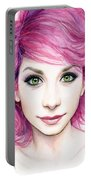 Girl With Magenta Hair Portable Battery Charger