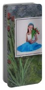 Girl With Tulips Portable Battery Charger