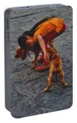 Girl With Two Dogs Portable Battery Charger