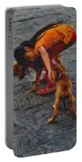Girl With Two Dogs Portable Battery Charger by Mary Machare