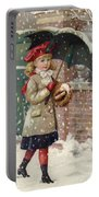 Girl With Umbrella In A Snow Shower Portable Battery Charger