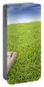 Girls Feet On Grass With Flowers Portable Battery Charger