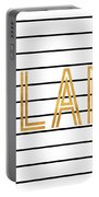 Glam Pinstripe Gold Portable Battery Charger