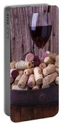 Glass Of Wine With Corks Portable Battery Charger