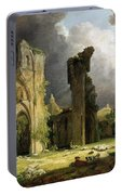 Glastonbury Abbey With The Tor Portable Battery Charger