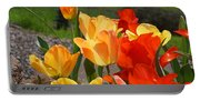 Glowing Sunlit Tulips Art Prints Red Yellow Orange Portable Battery Charger
