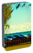 Go Fly A Kite Off A Short Pier Lachine Lighthouse Summer Scene Carole Spandau Montreal Art  Portable Battery Charger