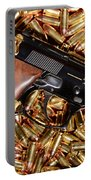 Gold 9mm Beretta With Brass Ammo Portable Battery Charger