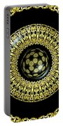 Gold And Black Stained Glass Kaleidoscope Under Glass Portable Battery Charger