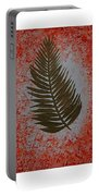 Gold Leaves On Orange Triptych Portable Battery Charger
