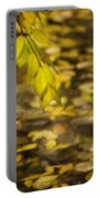 Golden Autumn Colour Foliage On Rainy Pond Portable Battery Charger