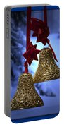 Golden Bells Blue Greeting Card Portable Battery Charger