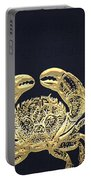 Golden Crab On Charcoal Black Portable Battery Charger