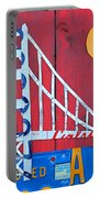 Golden Gate Bridge California Recycled Vintage License Plate Art On Red Distressed Barn Wood Portable Battery Charger