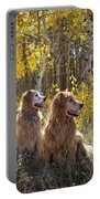 Golden Goldens - Golden Retriever Brothers - Casper Mountain - Casper Wyoming Portable Battery Charger