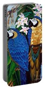 Golden Macaw Hand Embroidery Portable Battery Charger