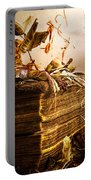 Golden Pages Falling Flowers Portable Battery Charger