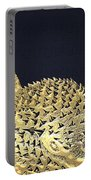 Golden Puffer Fish On Charcoal Black Portable Battery Charger