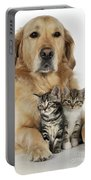 Golden Retriever And Kittens Portable Battery Charger