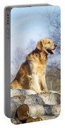 Golden Retriever Dog On Logs Portable Battery Charger