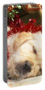 Golden Retriever Under Christmas Tree Portable Battery Charger