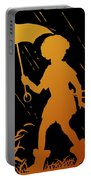 Golden Silhouette Of Child And Geese Walking In The Rain Portable Battery Charger