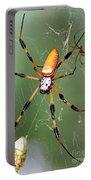 Golden Silk Spider Capturing A Stinkbug Portable Battery Charger