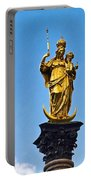 Golden Statue Of The Virgin Mary In Munich Germany Portable Battery Charger