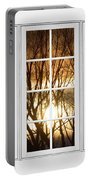 Golden Sun Silhouetted Tree Branches White Window View Portable Battery Charger