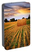 Golden Sunset Over Farm Field In Ontario Portable Battery Charger