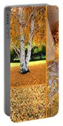Golden Weeping Birch Tree Collage Portable Battery Charger