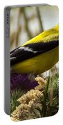 Goldfinch Atop A Purple Thistle Portable Battery Charger