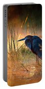Goliath Heron With Sunrise Over Misty River Portable Battery Charger