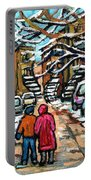 Good Day In January For Winter Stroll Snowy Trees And Cars Verdun Street Scene Painting Montreal Art Portable Battery Charger