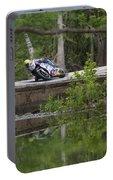 Superbike On Creek Bridge Portable Battery Charger