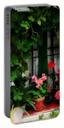 Grapevines And Geraniums Around A Window Portable Battery Charger