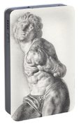 Graphite Drawing Of The Rebellious Slave Sculpture By Michelangelo Buonarotti Portable Battery Charger