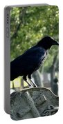 Graveyard Bird On Top Of A Tombstone Portable Battery Charger