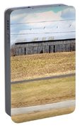 Gray Barn In A Cornfield Portable Battery Charger