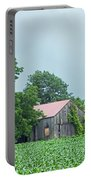 Gray Sky - Red Roofed Barn - Green Fields Portable Battery Charger