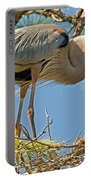 Great Blue Heron Adult Feeding Nestling Portable Battery Charger