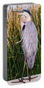 Great Blue Heron Portable Battery Charger by Edward Fielding