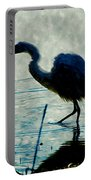 Great Blue Heron Fishing In The Low Lake Waters Portable Battery Charger