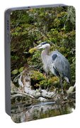 Great Blue Heron On Log Portable Battery Charger