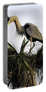 Great Blue Heron On Palm Portable Battery Charger