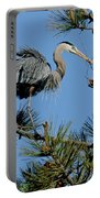 Great Blue Heron With Nest Material Portable Battery Charger