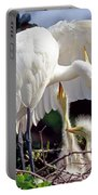Great Egret Ardea Alba In Nest Portable Battery Charger