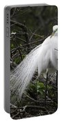 Great Egret In Tree Portable Battery Charger