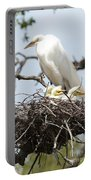 Great Egret Nest With Chicks And Mama Portable Battery Charger